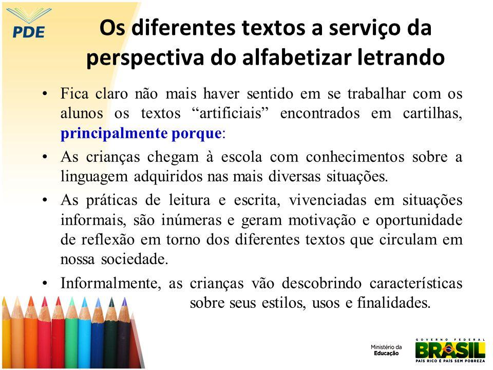 Os diferentes textos a serviço da perspectiva do alfabetizar letrando Fica claro não mais haver sentido em se trabalhar com os alunos os textos artifi