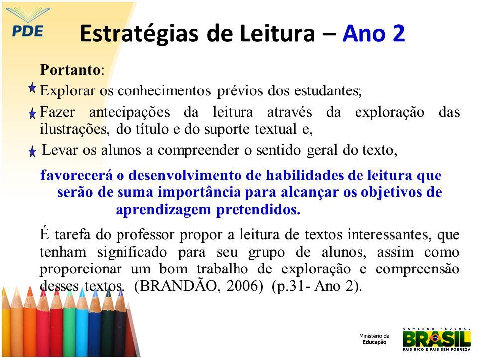 Estratégias de Leitura – Ano 2 Portanto: Explorar os conhecimentos prévios dos estudantes; Fazer antecipações da leitura através da exploração das ilu