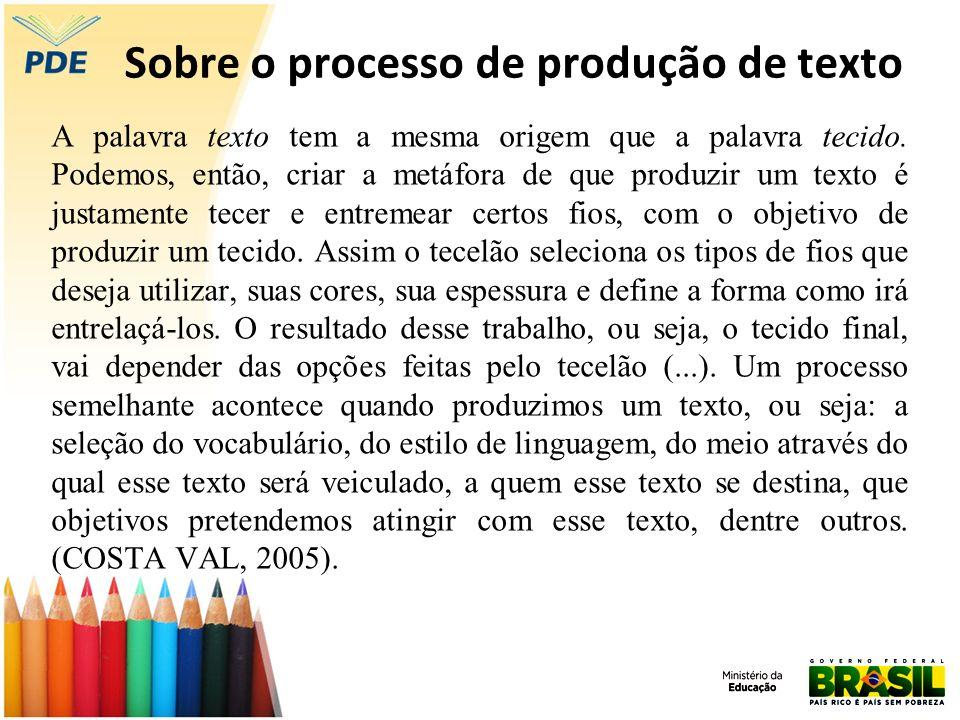 Sobre o processo de produção de texto A palavra texto tem a mesma origem que a palavra tecido. Podemos, então, criar a metáfora de que produzir um tex