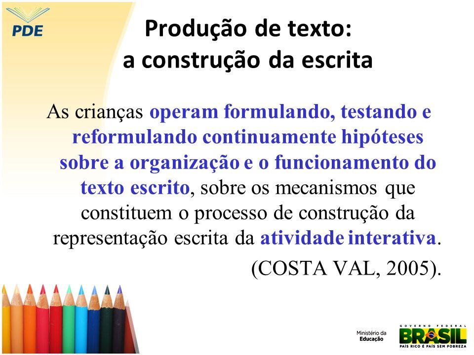 Produção de texto: a construção da escrita As crianças operam formulando, testando e reformulando continuamente hipóteses sobre a organização e o func