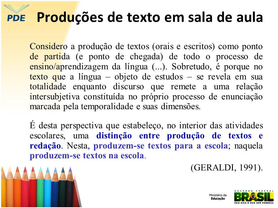 Produções de texto em sala de aula Considero a produção de textos (orais e escritos) como ponto de partida (e ponto de chegada) de todo o processo de