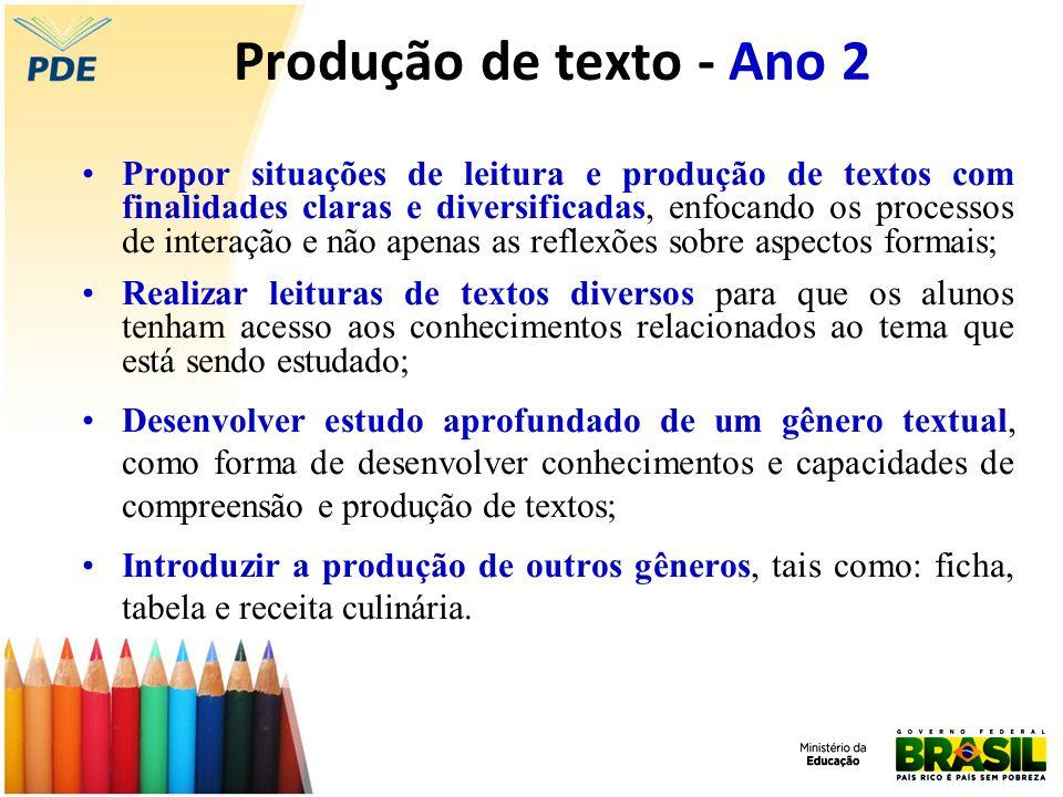 Produção de texto - Ano 2 Propor situações de leitura e produção de textos com finalidades claras e diversificadas, enfocando os processos de interaçã