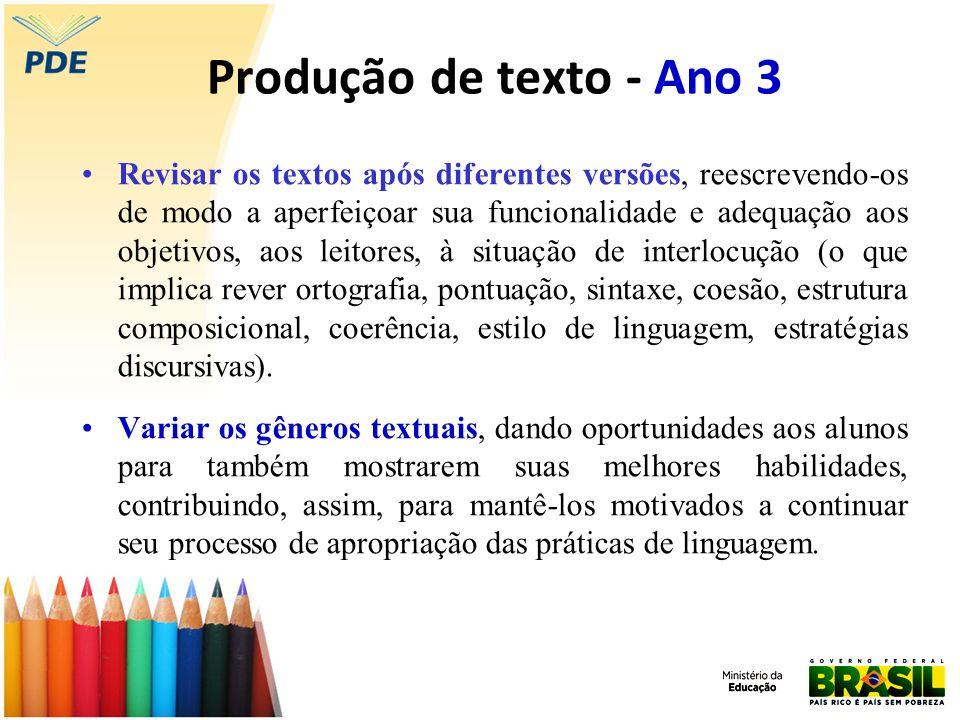 Produção de texto - Ano 3 Revisar os textos após diferentes versões, reescrevendo-os de modo a aperfeiçoar sua funcionalidade e adequação aos objetivo