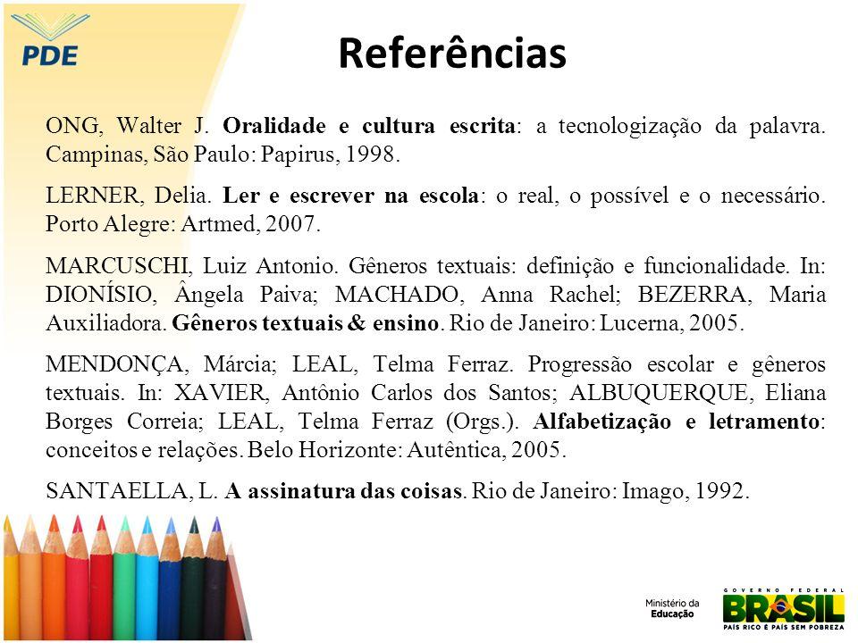 Referências ONG, Walter J. Oralidade e cultura escrita: a tecnologização da palavra. Campinas, São Paulo: Papirus, 1998. LERNER, Delia. Ler e escrever
