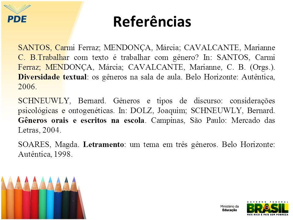 Referências SANTOS, Carmi Ferraz; MENDONÇA, Márcia; CAVALCANTE, Marianne C. B.Trabalhar com texto é trabalhar com gênero? In: SANTOS, Carmi Ferraz; ME