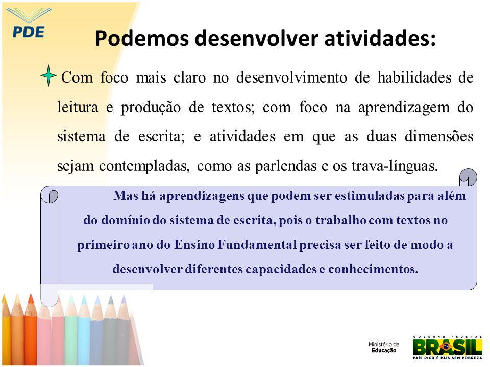 Atividades voltadas para o desenvolvimento da Oralidade Participação dos alunos em situações de interações orais com questionamentos, sugestões e explicações sobre um determinado assunto.