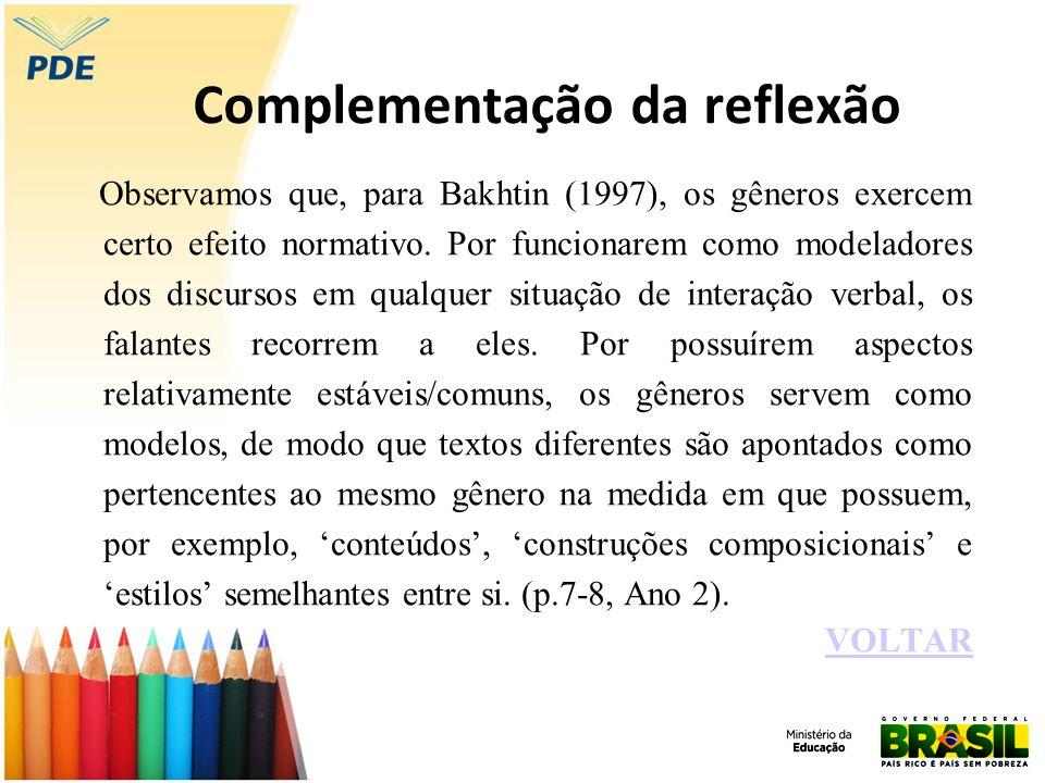 Complementação da reflexão Observamos que, para Bakhtin (1997), os gêneros exercem certo efeito normativo. Por funcionarem como modeladores dos discur