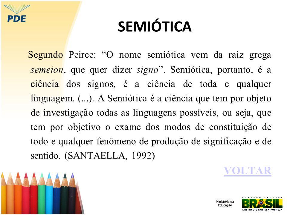 SEMIÓTICA Segundo Peirce: O nome semiótica vem da raiz grega semeion, que quer dizer signo. Semiótica, portanto, é a ciência dos signos, é a ciência d