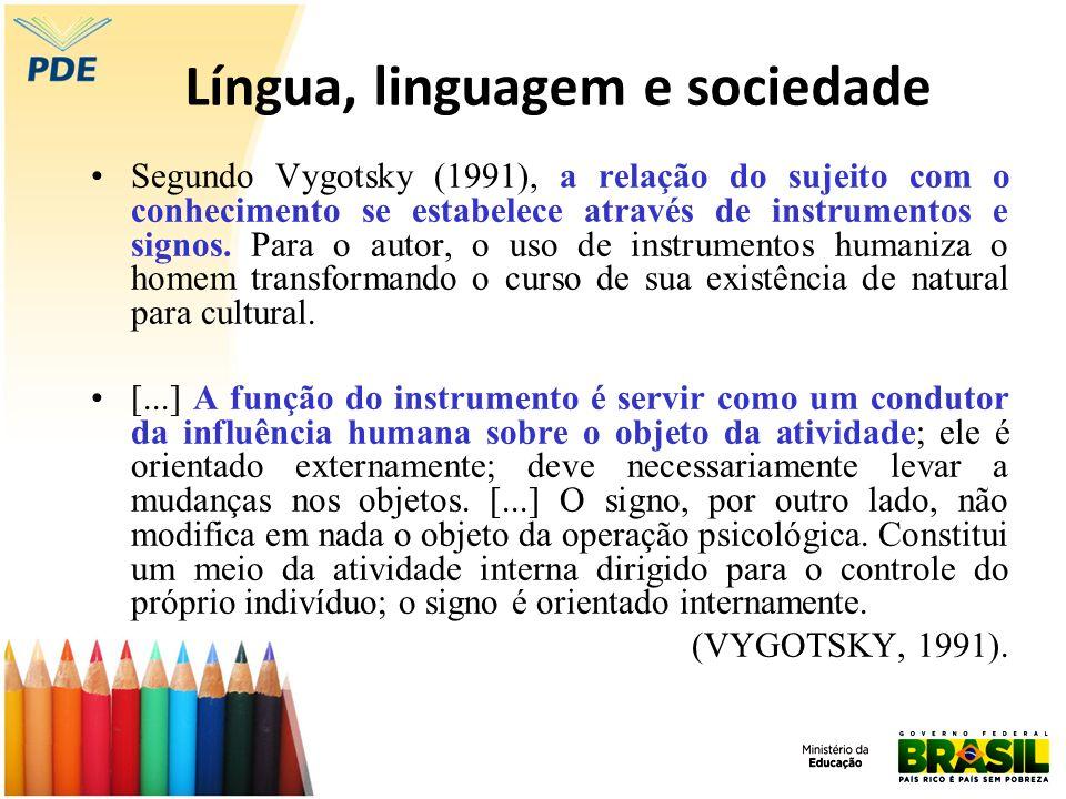 Língua, linguagem e sociedade Segundo Vygotsky (1991), a relação do sujeito com o conhecimento se estabelece através de instrumentos e signos. Para o