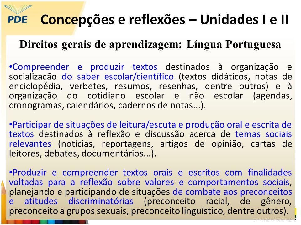 Concepções e reflexões – Unidades I e II Eixos de aprendizagem (...) os direitos de aprendizagem são organizados em quatro eixos centrais: leitura, produções de textos escritos, linguagem oral e análise linguística.
