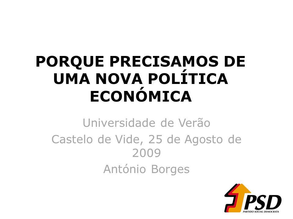 PORQUE PRECISAMOS DE UMA NOVA POLÍTICA ECONÓMICA Universidade de Verão Castelo de Vide, 25 de Agosto de 2009 António Borges