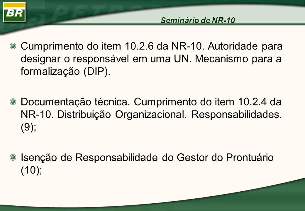 Seminário de NR-10 Cumprimento do item 10.2.6 da NR-10. Autoridade para designar o responsável em uma UN. Mecanismo para a formalização (DIP). Documen