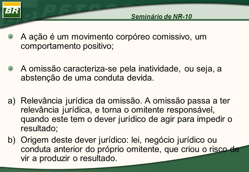 Seminário de NR-10 A ação é um movimento corpóreo comissivo, um comportamento positivo; A omissão caracteriza-se pela inatividade, ou seja, a abstençã