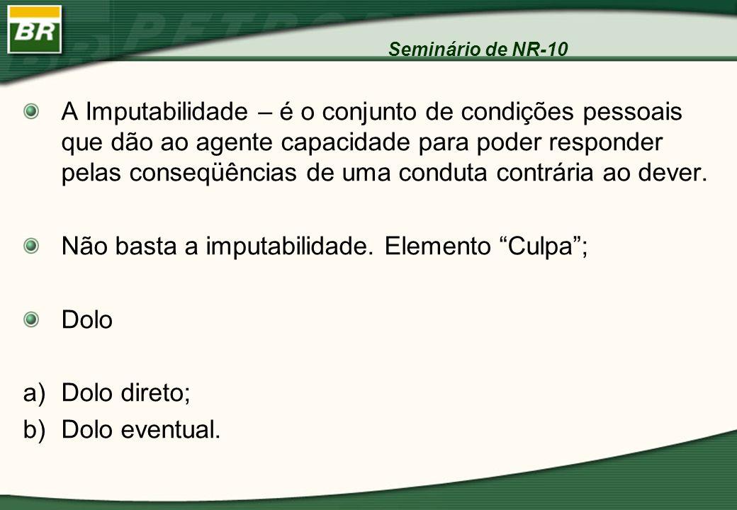 Seminário de NR-10 A Imputabilidade – é o conjunto de condições pessoais que dão ao agente capacidade para poder responder pelas conseqüências de uma