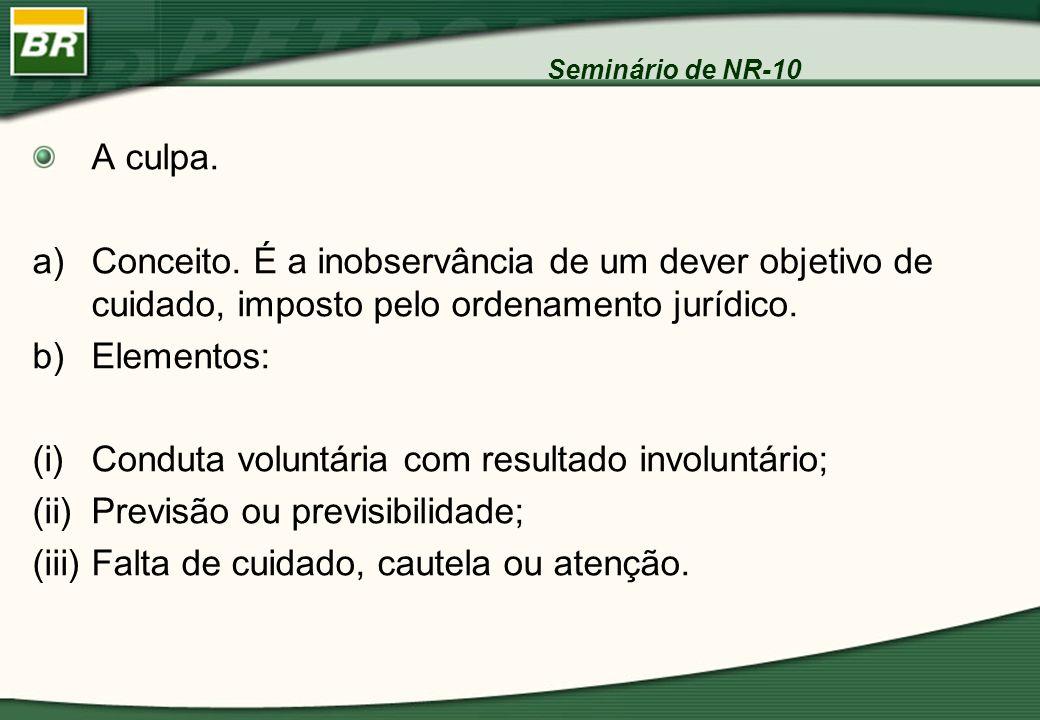 Seminário de NR-10 A culpa. a)Conceito. É a inobservância de um dever objetivo de cuidado, imposto pelo ordenamento jurídico. b)Elementos: (i)Conduta