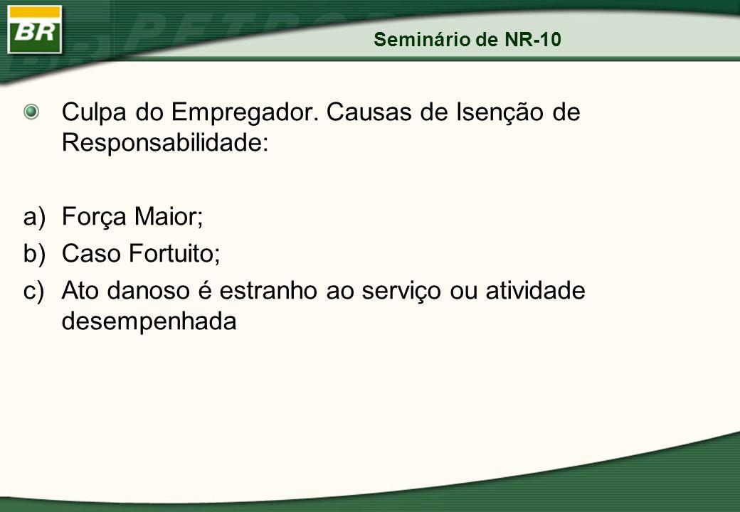 Seminário de NR-10 Culpa do Empregador. Causas de Isenção de Responsabilidade: a)Força Maior; b)Caso Fortuito; c)Ato danoso é estranho ao serviço ou a