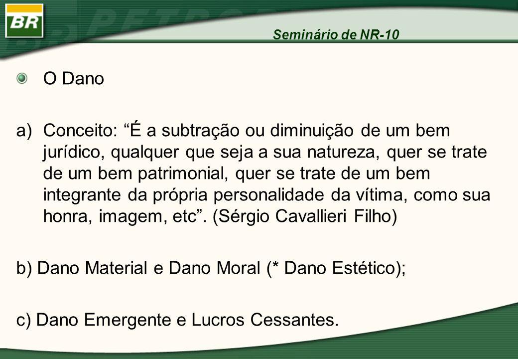 Seminário de NR-10 O Dano a)Conceito: É a subtração ou diminuição de um bem jurídico, qualquer que seja a sua natureza, quer se trate de um bem patrim