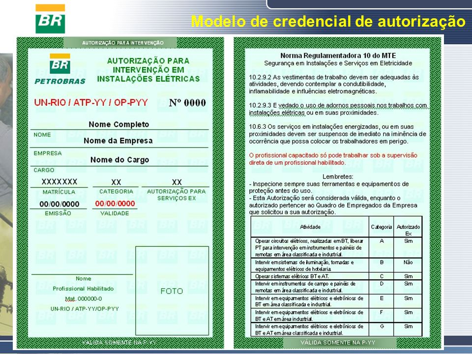 Modelo de credencial de autorização