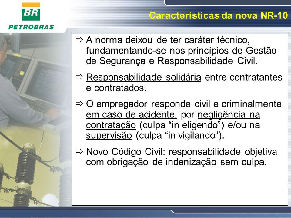 Características da nova NR-10 A norma deixou de ter caráter técnico, fundamentando-se nos princípios de Gestão de Segurança e Responsabilidade Civil.