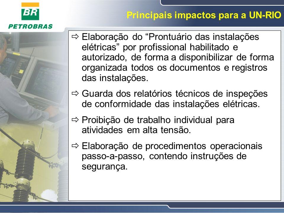 Principais impactos para a UN-RIO Elaboração do Prontuário das instalações elétricas por profissional habilitado e autorizado, de forma a disponibiliz