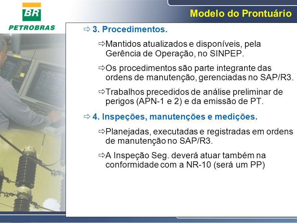 Modelo do Prontuário 3. Procedimentos. Mantidos atualizados e disponíveis, pela Gerência de Operação, no SINPEP. Os procedimentos são parte integrante