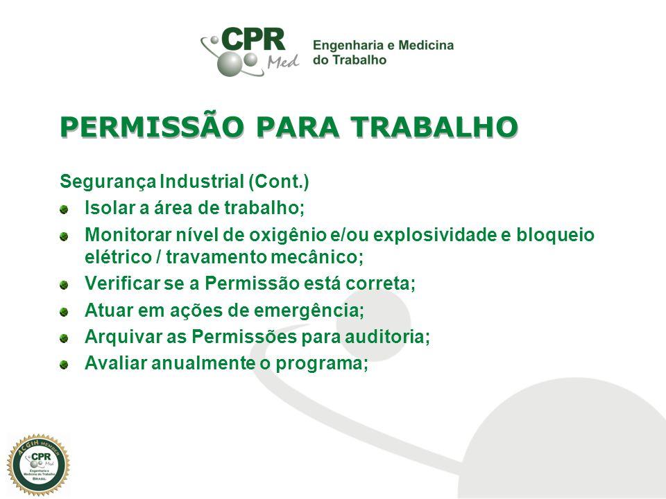 Segurança Industrial (Cont.) Isolar a área de trabalho; Monitorar nível de oxigênio e/ou explosividade e bloqueio elétrico / travamento mecânico; Veri