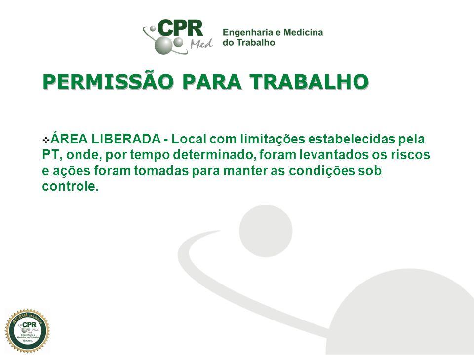 ÁREA LIBERADA - Local com limitações estabelecidas pela PT, onde, por tempo determinado, foram levantados os riscos e ações foram tomadas para manter