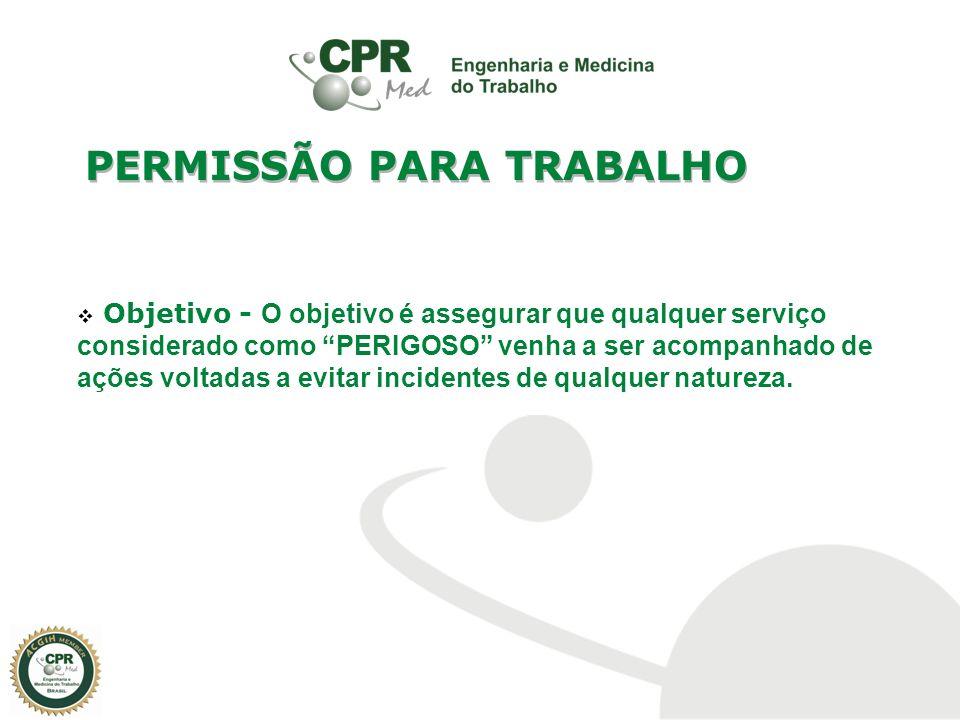 CANCELAMENTO Descumprimento de qualquer uma recomendação contida na PT Alteração na situação de risco inicial Situações de emergência PERMISSÃO PARA TRABALHO