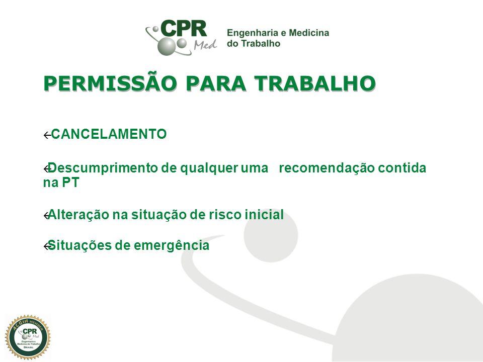 CANCELAMENTO Descumprimento de qualquer uma recomendação contida na PT Alteração na situação de risco inicial Situações de emergência PERMISSÃO PARA T