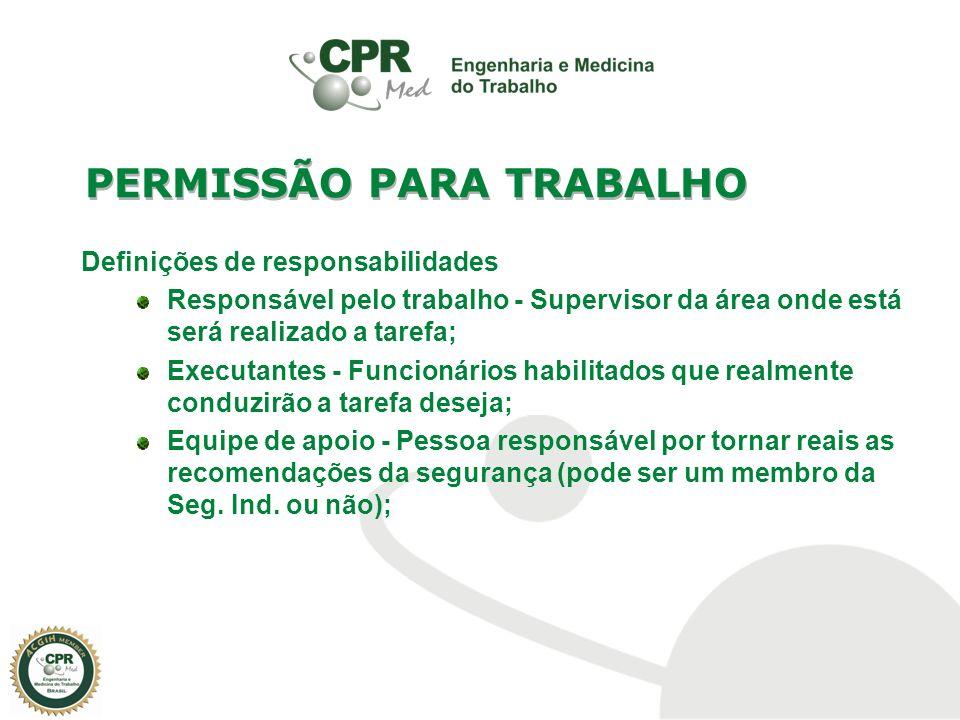 Definições de responsabilidades Responsável pelo trabalho - Supervisor da área onde está será realizado a tarefa; Executantes - Funcionários habilitad