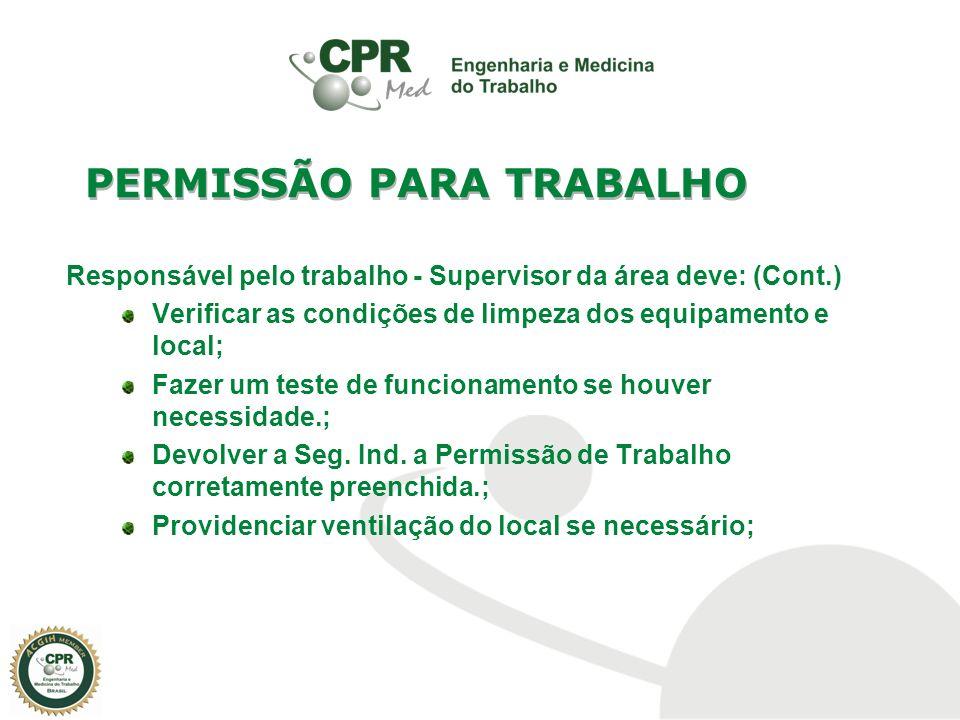Responsável pelo trabalho - Supervisor da área deve: (Cont.) Verificar as condições de limpeza dos equipamento e local; Fazer um teste de funcionament
