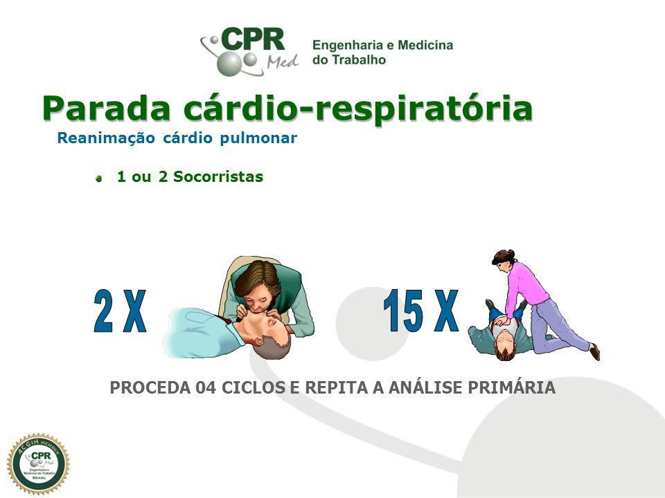 Parada cárdio-respiratória Reanimação cárdio pulmonar 1 ou 2 Socorristas PROCEDA 04 CICLOS E REPITA A ANÁLISE PRIMÁRIA