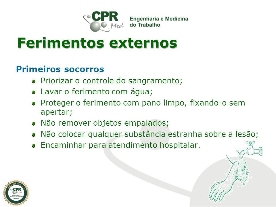 Ferimentos externos Primeiros socorros Priorizar o controle do sangramento; Lavar o ferimento com água; Proteger o ferimento com pano limpo, fixando-o