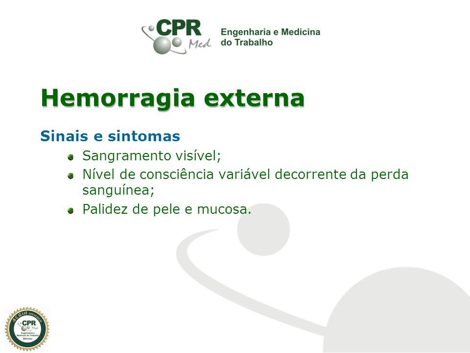 Hemorragia externa Sinais e sintomas Sangramento visível; Nível de consciência variável decorrente da perda sanguínea; Palidez de pele e mucosa.