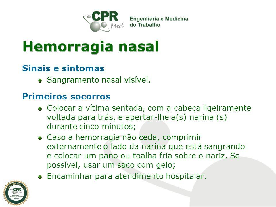 Hemorragia nasal Sinais e sintomas Sangramento nasal visível. Primeiros socorros Colocar a vítima sentada, com a cabeça ligeiramente voltada para trás