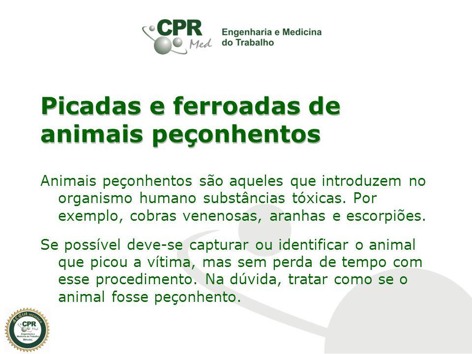 Picadas e ferroadas de animais peçonhentos Animais peçonhentos são aqueles que introduzem no organismo humano substâncias tóxicas. Por exemplo, cobras
