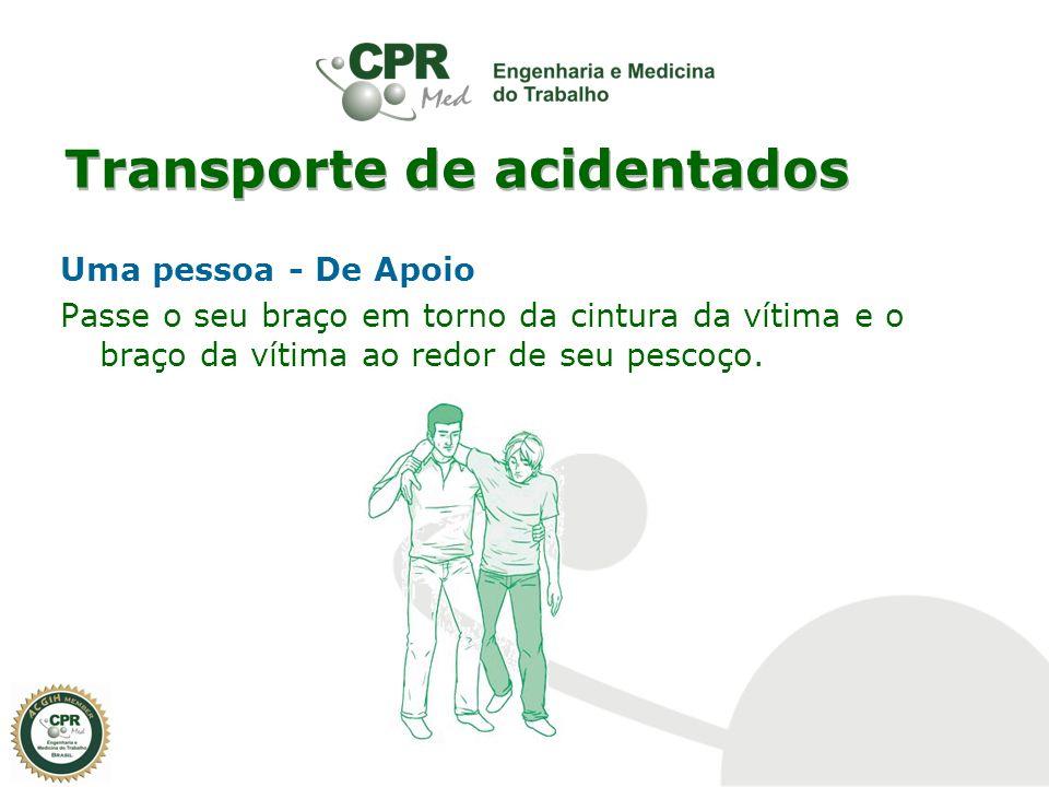 Transporte de acidentados Uma pessoa - De Apoio Passe o seu braço em torno da cintura da vítima e o braço da vítima ao redor de seu pescoço.