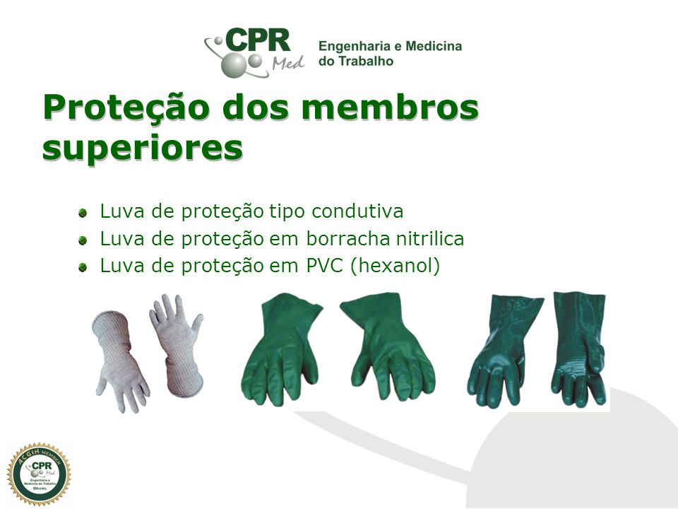 Proteção dos membros superiores Luva de proteção tipo condutiva Luva de proteção em borracha nitrilica Luva de proteção em PVC (hexanol)