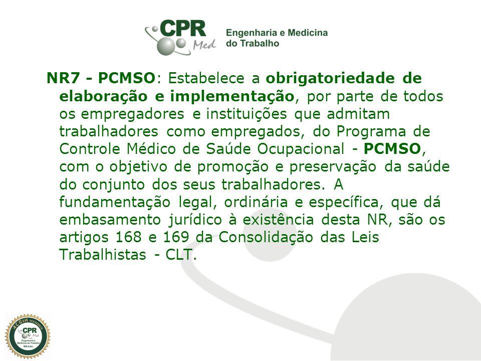 NR7 - PCMSO: Estabelece a obrigatoriedade de elaboração e implementação, por parte de todos os empregadores e instituições que admitam trabalhadores c
