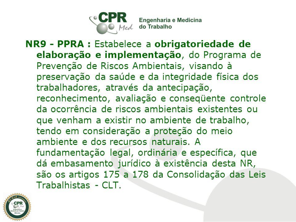 NR9 - PPRA : Estabelece a obrigatoriedade de elaboração e implementação, do Programa de Prevenção de Riscos Ambientais, visando à preservação da saúde