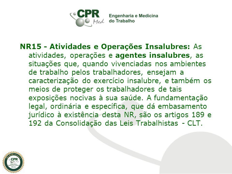 NR15 - Atividades e Operações Insalubres: As atividades, operações e agentes insalubres, as situações que, quando vivenciadas nos ambientes de trabalh