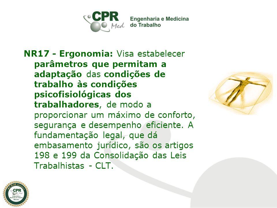 NR17 - Ergonomia: Visa estabelecer parâmetros que permitam a adaptação das condições de trabalho às condições psicofisiológicas dos trabalhadores, de