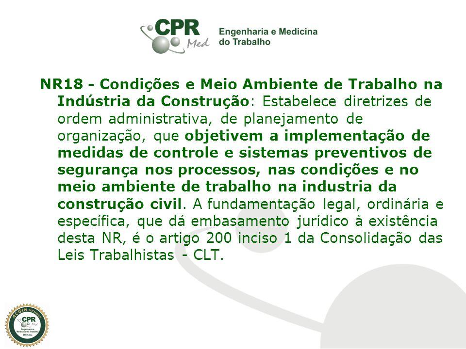 NR18 - Condições e Meio Ambiente de Trabalho na Indústria da Construção: Estabelece diretrizes de ordem administrativa, de planejamento de organização