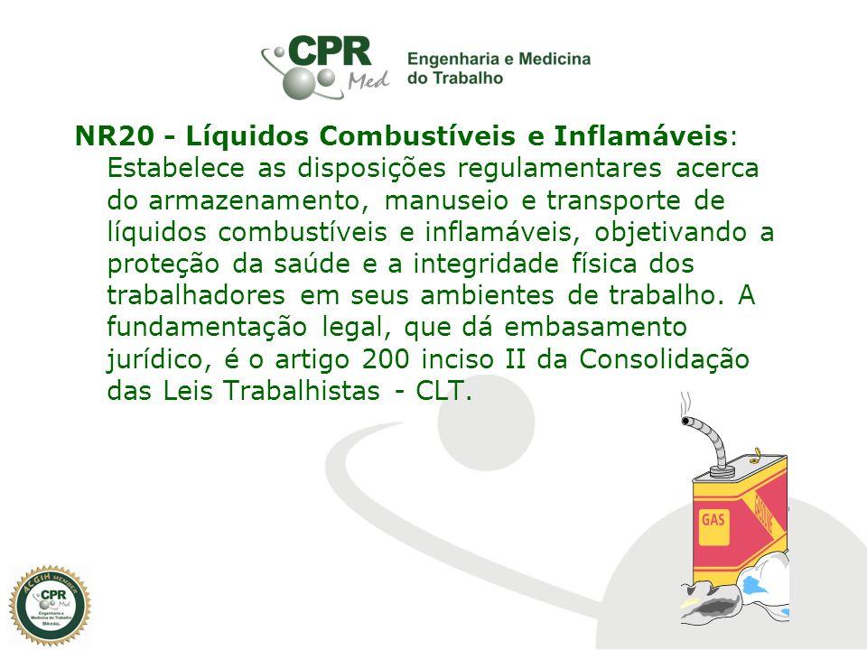 NR20 - Líquidos Combustíveis e Inflamáveis: Estabelece as disposições regulamentares acerca do armazenamento, manuseio e transporte de líquidos combus