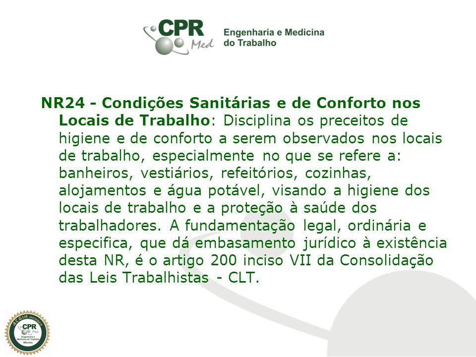 NR24 - Condições Sanitárias e de Conforto nos Locais de Trabalho: Disciplina os preceitos de higiene e de conforto a serem observados nos locais de tr
