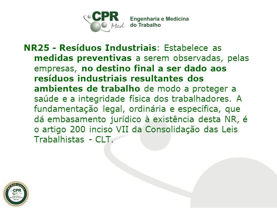 NR25 - Resíduos Industriais: Estabelece as medidas preventivas a serem observadas, pelas empresas, no destino final a ser dado aos resíduos industriai
