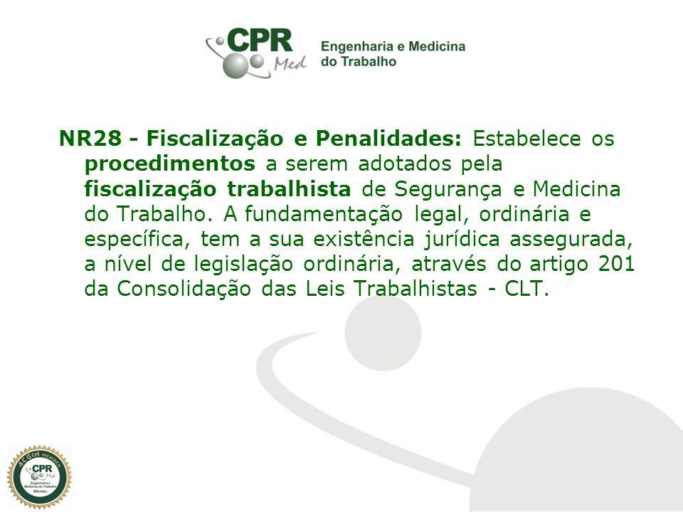 NR28 - Fiscalização e Penalidades: Estabelece os procedimentos a serem adotados pela fiscalização trabalhista de Segurança e Medicina do Trabalho. A f