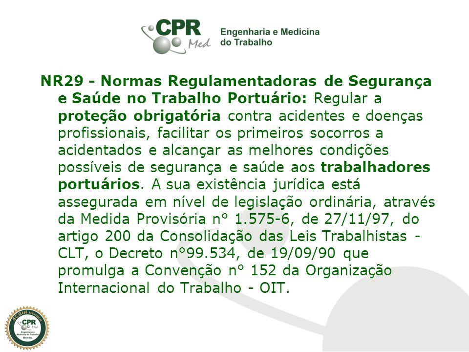 NR29 - Normas Regulamentadoras de Segurança e Saúde no Trabalho Portuário: Regular a proteção obrigatória contra acidentes e doenças profissionais, fa