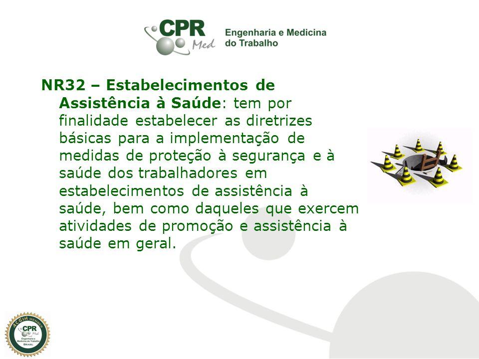 NR32 – Estabelecimentos de Assistência à Saúde: tem por finalidade estabelecer as diretrizes básicas para a implementação de medidas de proteção à seg