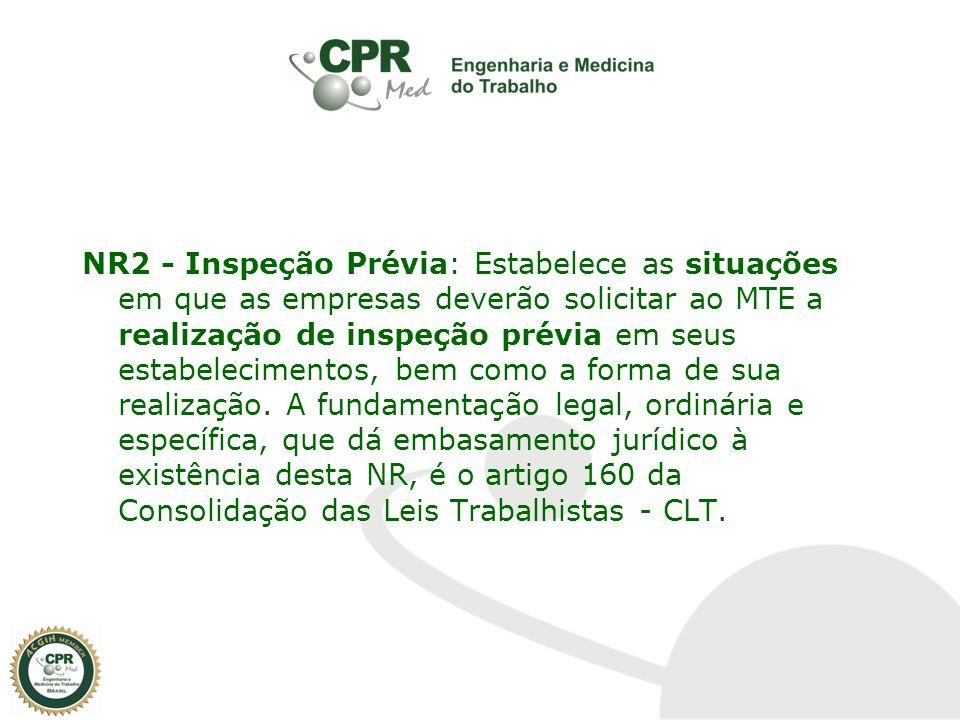 NR2 - Inspeção Prévia: Estabelece as situações em que as empresas deverão solicitar ao MTE a realização de inspeção prévia em seus estabelecimentos, b